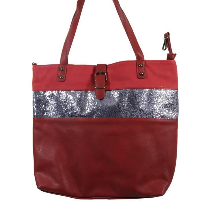 9acc8db426e9 Grand sac à main rouge bordeaux simili-cuir - Achat   Vente Grand ...