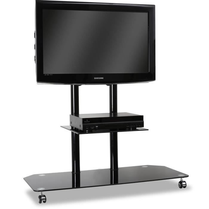 electronic star support tv pied verre aluminium. Black Bedroom Furniture Sets. Home Design Ideas