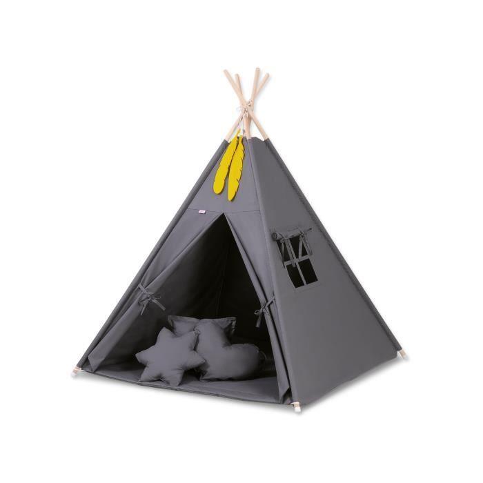 TENTE TUNNEL D'ACTIVITÉ Tipi (Teepee) pour enfant avec textile gris anthra