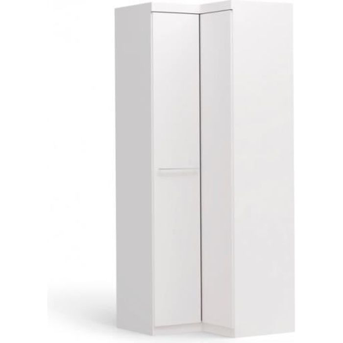 armoire d 39 angle alrik 2 portes blanc achat. Black Bedroom Furniture Sets. Home Design Ideas