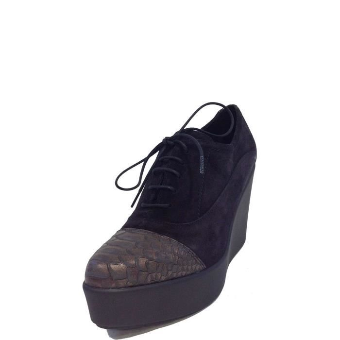 Jeannot Lace Shoes Femme Black Bronze 87SR5heS
