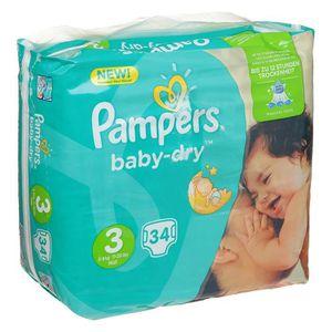COFFRET SOIN BÉBÉ PAMPERS Couches baby-dry Taille 3 - De 5 à 9 kg -