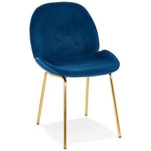 CHAISE HO - Chaise vintage en velours bleu et pieds en mé