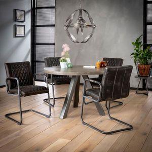 TABLE À MANGER SEULE Table ronde 120 cm en manguier massif grisé et aci