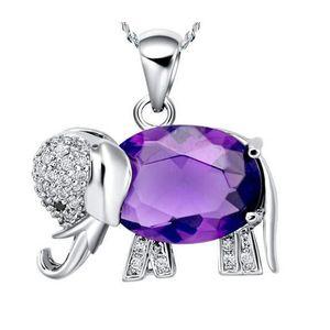 PARURE YSFMODE®Plaqué or 18 carats Pendentif Violet Eleph
