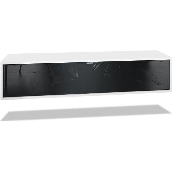 Meuble TV Lana 140 armoire murale lowboard 140 x 29 x 37 cm, caisson en Noir mat, façades en Noir haute brillance