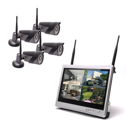 Kit vidéosurveillance WiFi 4 caméra HD 720P avec écran LCD 12.5- récepteur enregistreur HDD 1To