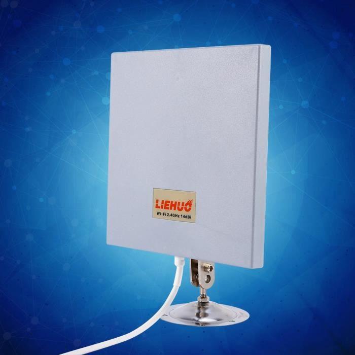 2,4 GHz Antenne Directionnelle Extender WiFi Longue Portée 14dBi 4Miles pour Intérieur et Extérieur avec Kit Montage
