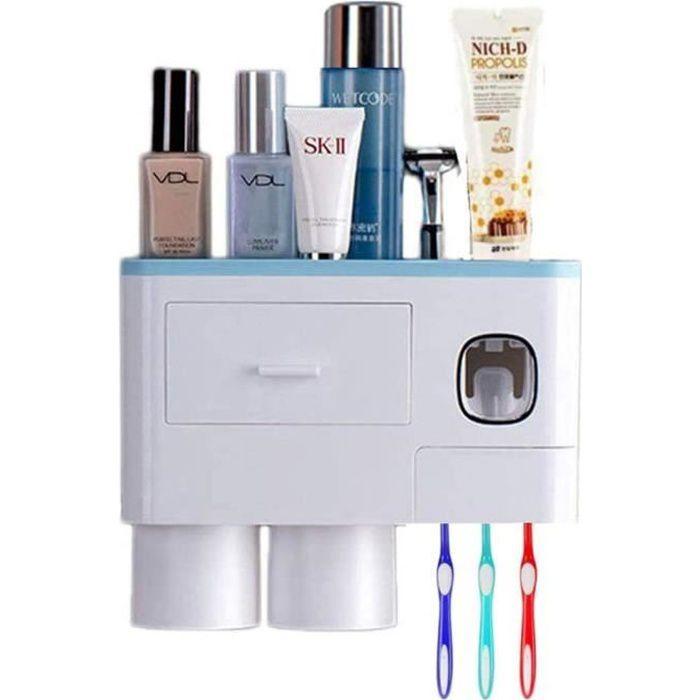 Distributeur Automatique de Dentifrice Porte Brosse à Dents Mural Adapté pour Distinguer la Brosse à Dents Adulte et Enfant(Bleu)