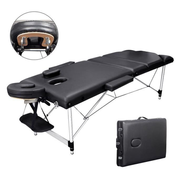 Table de massage Pliante Bois 3 Zones Cadre en Aluminium Noir + 1 Housse
