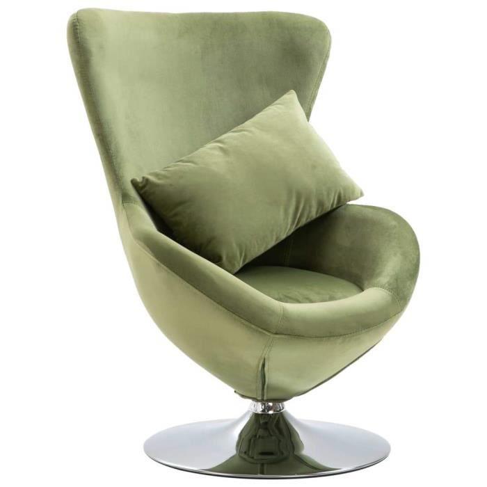 Fauteuil chaise siège lounge design club sofa salon pivotant en forme d'œuf avec coussin vert clair velours 1102200/3