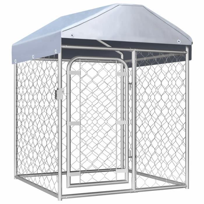 Magnifique-Chenil extérieur Niches enclos pour chiens chat a Chenil extérieur avec toit - Enclos en métal pour Chiot Cage Ani☀️9890