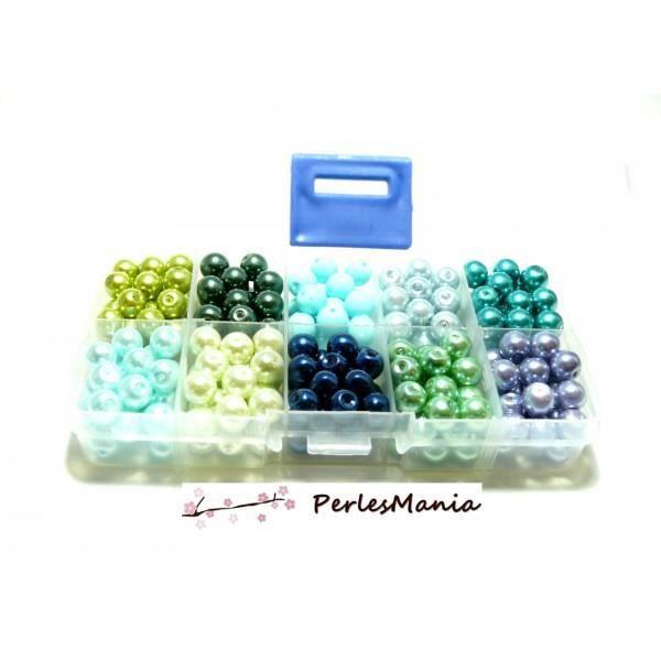 LES ESSENTIELS: BOITE DE 600 PERLES VERRE NACRE 6mm PX4611 - Perles et pierres