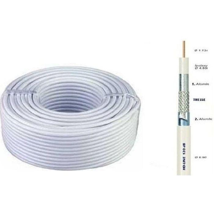 Cable COAXIAL 25M 120dB TNT & ANTENNE PARABOLE