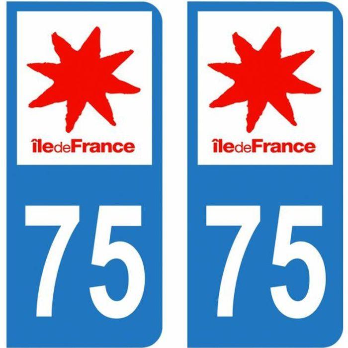 Lot 2 Autocollants Stickers plaque immatriculation voiture auto département 75 Paris Logo Région Ile-de-France