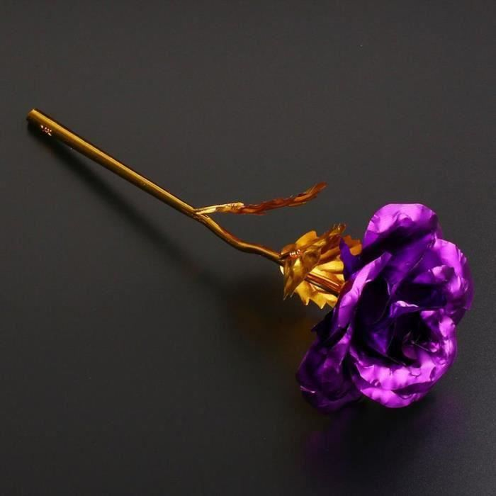 HT Fleur de Rose Artificielle Fleur Dorée Longue Tige Amoureux Saint Valentin Cadeau Violet - HTBDH824A3356