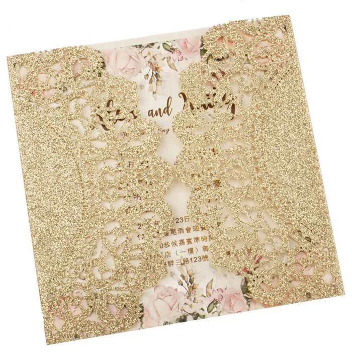 Pochette florale ajourée coupée au laser 1X - Livraison gratuite, Rose marine - Modèle: champagne glitter blank set - KUYQKPB03097