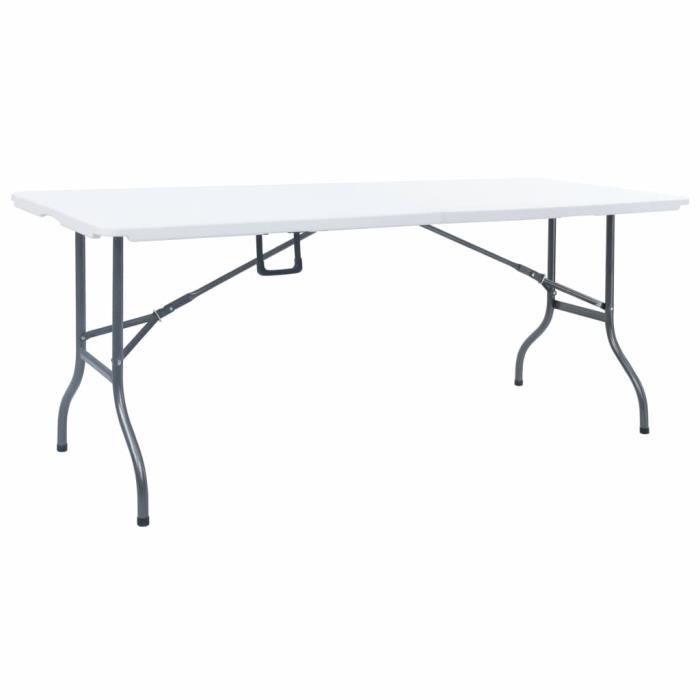 FR#7299Table de jardin pliable - Table de Camping Table de reception pliante Table à manger Contemporain Table de balcon- Blanc 180x