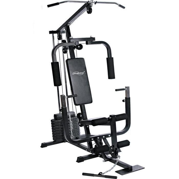 station de musculation multifonction - avec poids de 40 kg, presse de poitrine, butterfly, câble, barre latissimus, 153x118.