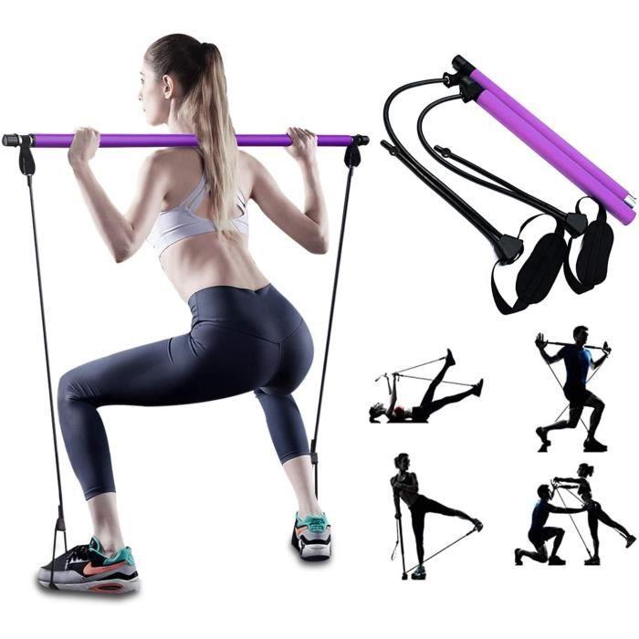 Bande de résistance élastique PLEASION R&eacuteglable Barre de Pilates pour Elastique Musculation, Hipsline Body Sculpt, Yoga E43