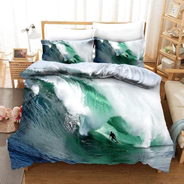 Housse de Couette Surf de mer Vert Clair 3 pièces 2 Taies d'Oreillers 140x200cm[901]