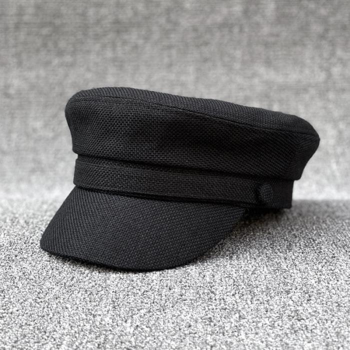 Adulte petit chapeau casquette femmes été coton et lin marine chapeaux hommes grande taille militair black 56cm