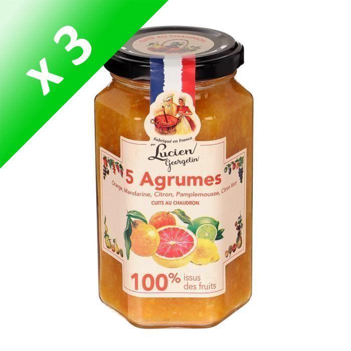 [LOT DE 3] LUCIEN GEORGELIN Confiture 5 Agrumes - 100% Fruits - 300 g