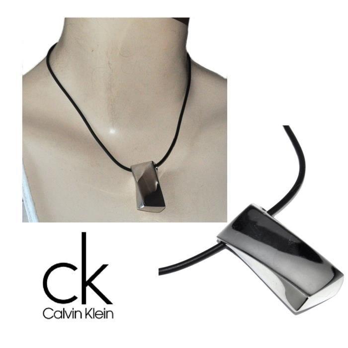 CALVIN KLEIN Collier design ras de cou acier inoxydable silicone noir 42cm bijou
