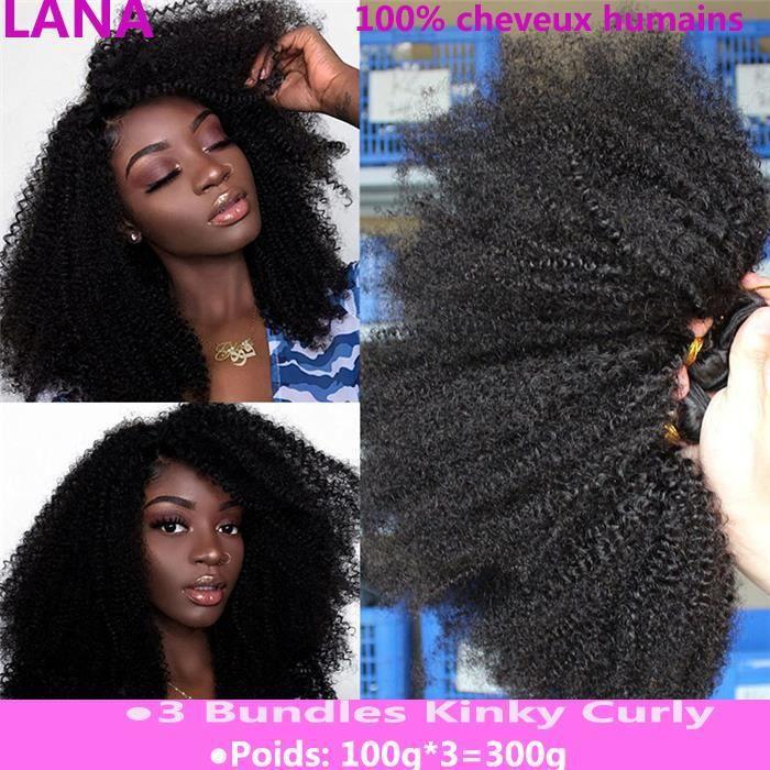3 Pièces Mongolian Afro Kinky Curly Hair 8Pouces Weave Extension bouclés cheveux humains
