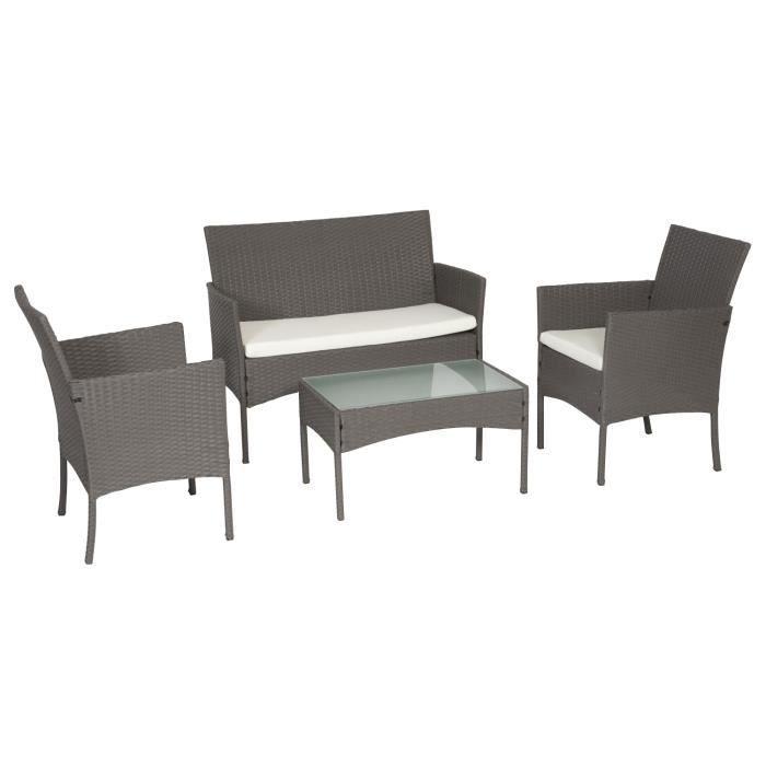 Salon de jardin CORDOUE en résine tressée gris 4 places - coussins crème