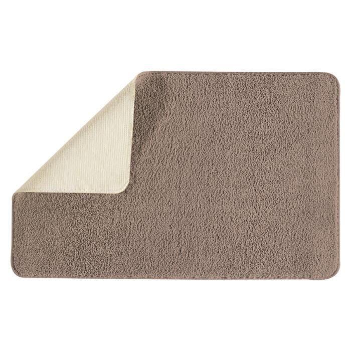 Tapis de bain Taupe 50 x 80 cm - Taille : 50 x 80 cm - Couleur : Marron - Composition : Polyester