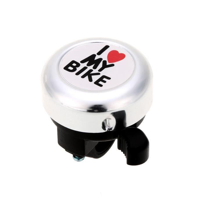Sonore Mignonne Alarme de vélo Sonnette d'avertissement argent Anneau I Love My Bike Imprimé Accessoire mixte