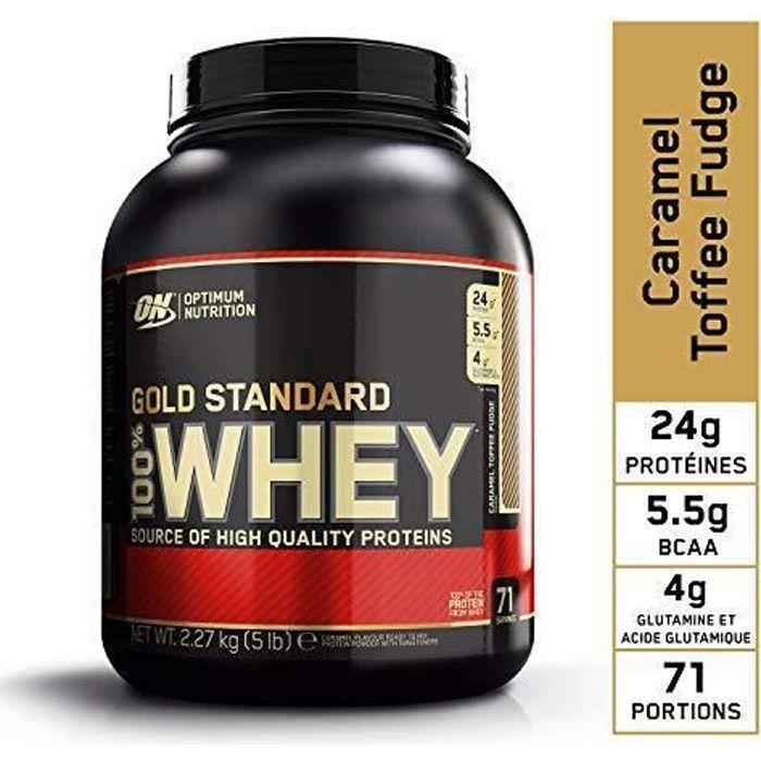 Optimum Nutrition Gold Standard 100% Whey Protéine en Poudre avec Whey Isolate, Proteines Musculation Prise de Masse, Caramel