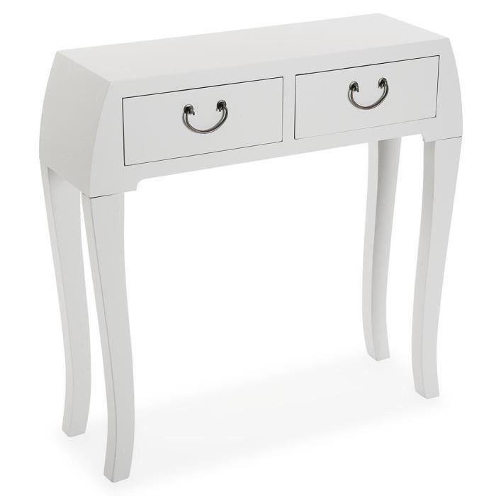 Console - Table d'entrée en bois coloris blanc - 80 x 25 x 80 cm