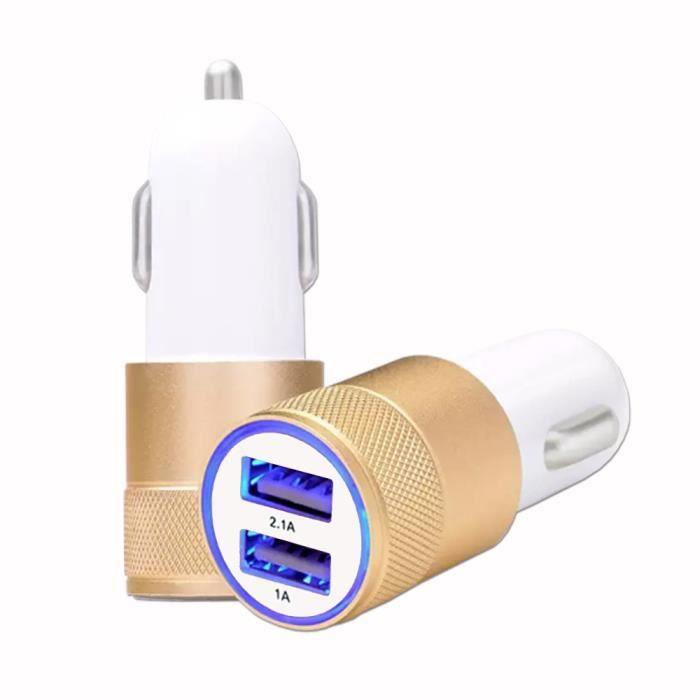Chargeur pour Lenovo Legion Phone Duel 2 Allume-Cigare USB de voiture Double Ports Ultra Rapide - 12-24V - OR GOLD