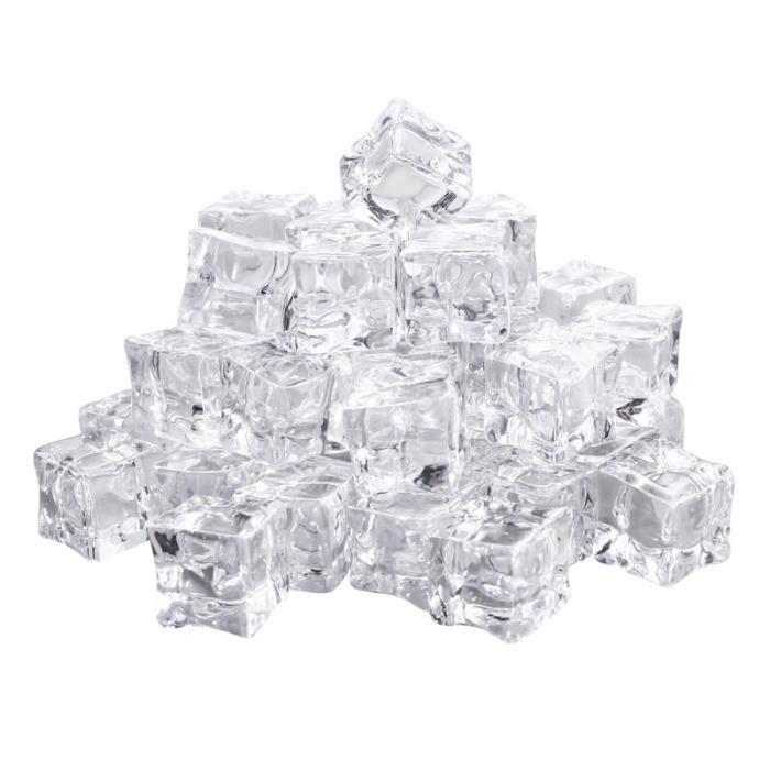 50 pièces faux glaçons acrylique 20mm remplisseurs de vase artificiels cubes de cristal de glace pour la décoration FAUX GLACONS
