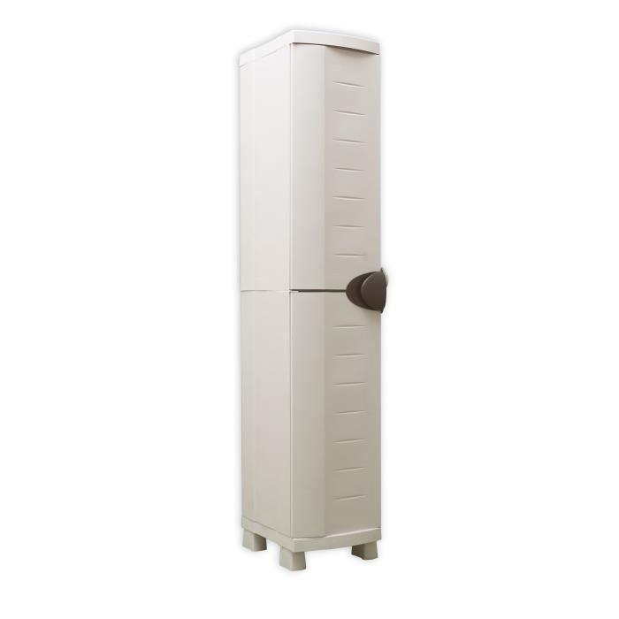 SPACESAVER 35 PLASTIKEN Armoire haute 1 Porte avec étagères - l 35 x p 45 x h 184 cm - Gamme Space SAVER - Intérieur et Extérieur