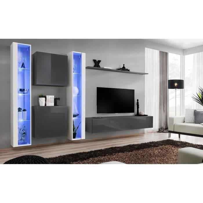 Ensemble meuble salon mural SWITCH XVI design, coloris gris et blanc brillant. 40 Gris