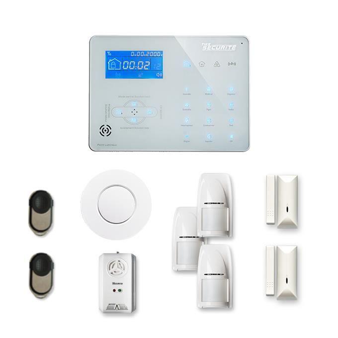 Alarme maison sans fil ICE-B 2 à 3 pièces mouvement + intrusion + détecteur de fumée + gaz - Compatible Box / GSM