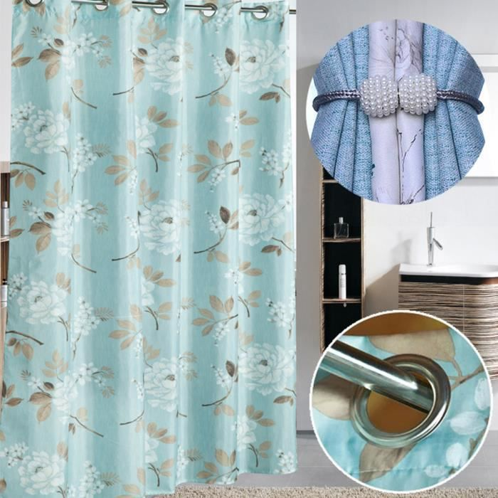 Rideau de douche sans crochet en polyester résistant à la moisissure et imperméable lavable avec bande de poids pour pièces humides