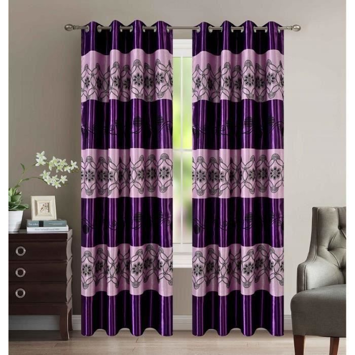 rideaux occultant 140 x 260 cm avec motif porto violet achat vente rideau cdiscount. Black Bedroom Furniture Sets. Home Design Ideas