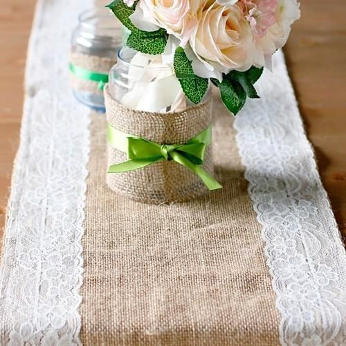 1 chemin de table de mariage toile de jute achat vente chemin de table les soldes sur. Black Bedroom Furniture Sets. Home Design Ideas