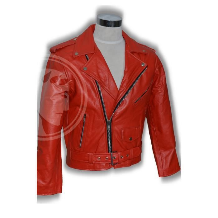 blouson homme biker perfecto cuir rouge xl achat vente. Black Bedroom Furniture Sets. Home Design Ideas