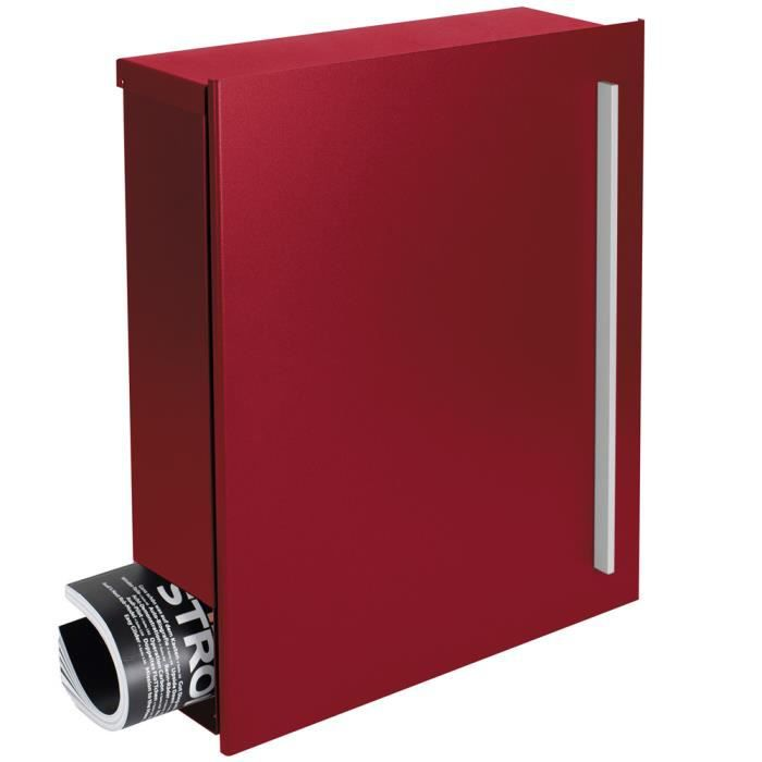 MOCAVI Box 110 Bo/îte aux lettres murale design avec compartiment journaux serrure sur la droite rouge pourpre RAL 3004 12 litres grande bo/îte /à/ lettres rouge moderne avec porte-journaux