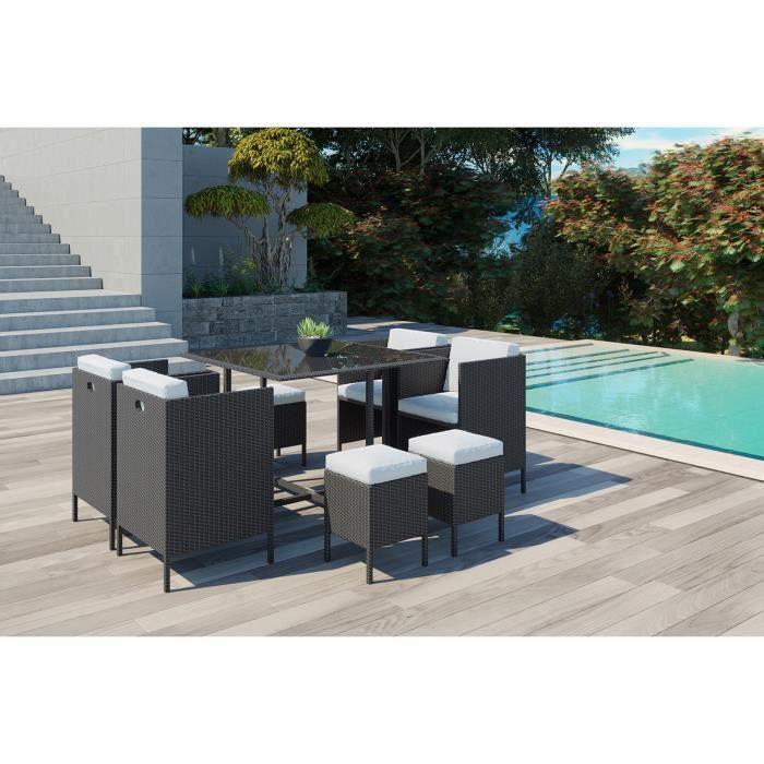 Ensemble table et chaise de jardin Daytona 8 : salon de jardin encastrable 8 places e