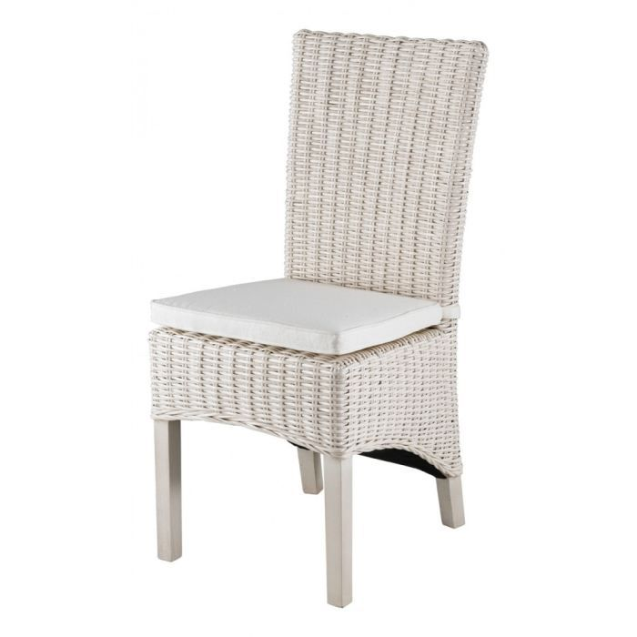 chaise en demi kubu blanc lot de 2 inwood achat vente chaise cdiscount. Black Bedroom Furniture Sets. Home Design Ideas