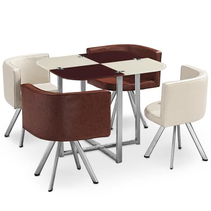 Table et chaises mosaic 90 cru et marron achat vente table a manger comp - Cdiscount table chaise ...