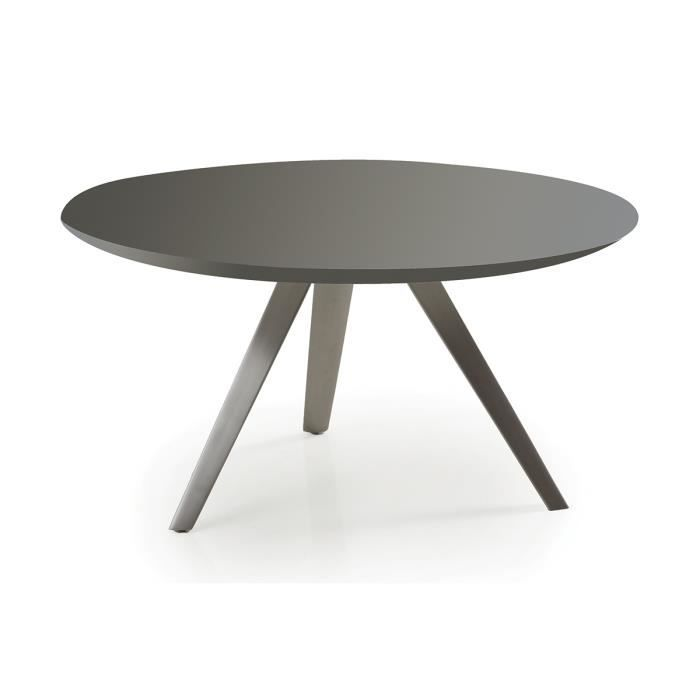 Table basse design ronde gris mat marny achat vente for Table ultra basse