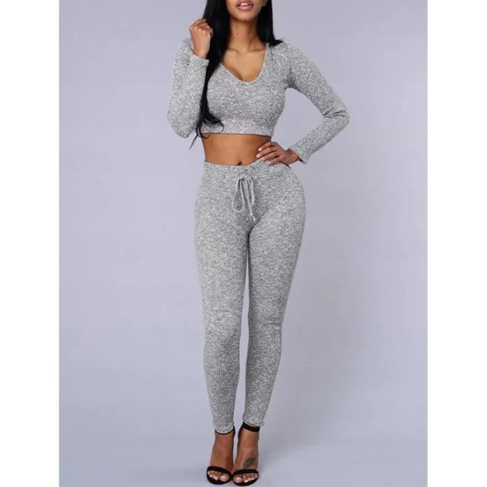 gris surv tement femme ensemble sexy grande taille gym jogging 2 pi ces top court et pantalon. Black Bedroom Furniture Sets. Home Design Ideas