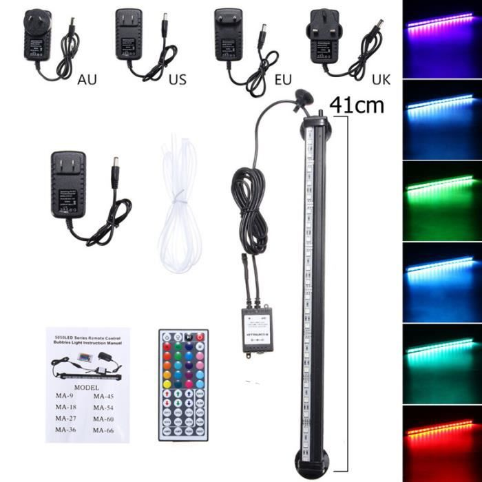 Plug Ue | 41cm 21led Rvb Changement De Couleur Poissons D'aquarium Led Bar Éclairage Submersible Rideau D'air